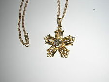Bellflower NECKLACE PENDANT Rebekah gold? fraternal Women's IOOF vtg rhinestones