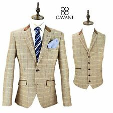 Mens Cavani Tweed Blazer Waistcoat Formal Casual Dinner Jacket Slim Fit