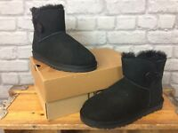 UGG LADIES UK 4.5 EU 37 BLACK SUEDE BAILEY BUTTON BOOTS UGGS AUSTRALIA £150 *2*
