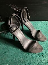 Black barely there heels 6.5 Feathers Faux Suede