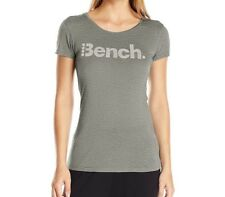 Bench Women's Expate Tee T-Shirt Reflective Logo Bright Grey Marl Size Large