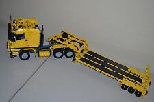 NEW LEGO TECHNIC YELLOW 8258 V10 TRUCK & YELLOW/BLACK CUSTOM FLATBED TRAILER