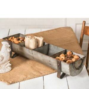 Farmhouse new large Feeder Divided Tray in Distressed Tin