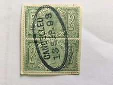 GB UK REVENUE QV Judicature Fee 2 Shilling Block green on Paper Fiscal cancel