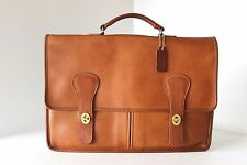 RARE Vintage COACH Tan LARGE SLIM BRIEFCASE PORTFOLIO LAPTOP HANDBAG NYC VGUC