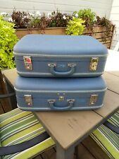 2 Retro 60's sky blue vintage hardshell suitcases display storage with keys