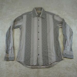 Ted Baker 4 Button Up Shirt Adult Large Grey Long Sleeve Casual Cotton Top Mens