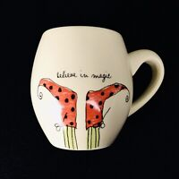 Rae Dunn Magenta Ivory Red Believe In Magic Holiday Elf Shoes Coffee Tea Mug Cup