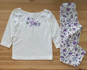 JANIE AND JACK Purple Floral Bird Top & Pants Set Outfit Size 12
