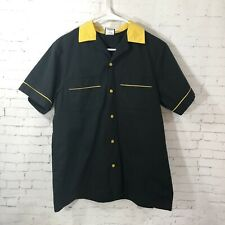 Kingpins Vintage Hilton Bowling Retro Shirt Black Yellow Size Small KENT