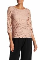 NWT Adrianna Papell Womens Peach Blush Lace 3/4 Sleeve Top Blouse Size S