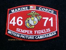 MOS 4671 MOTION PICTURE CAMERAMAN HAT PATCH US MARINES PIN UP USS FMF MWCS WOW