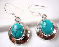 Turquoise Earrings Drop Dangle Oval in Round Silver Border 925 Sterling New