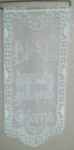 HERITAGE LACE IVORY/CREAM BLESS THIS HOME LACE  WALL HANGING 11.5X27 ITEM 2839