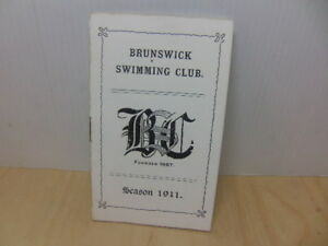 Brunswick Swimming Club Camberwell Membership Fixtures Booklet Season 1911