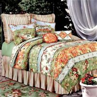 GARDEN DREAM Queen QUILT COUNTRY COTTAGE RAG PATCH FLORAL BEDDING REVERSIBLE