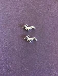 2  Alloy Silver Plated Dog Charms