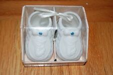 New Precious Moments Birthstone March's Child Porcelain Baby Shoe Ornament