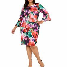 CALVIN KLEIN NEW Women's Plus Floral Print Bell Sleeves Sheath Dress 16W TEDO