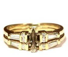 14k yellow gold .29ct diamond semi mount engagement wedding band ring 4.4g