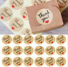 60Pcs Hand Made With Love Heart Sticker Kraft Paper Wedding Thank You Labels