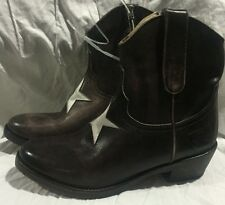 MR WOLF BROWN LEATHER WITH WHITE STAR LOW COWBOY BOOT SIZE 6 M