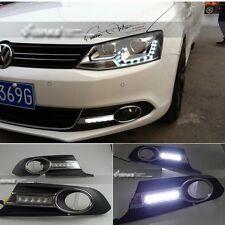 For VW Volkswagen Jetta MK6 11-2013 2x White LED Daytime Day Fog Light Lamp DRL