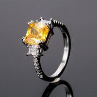 Women Fashion 925 Silver Jewelry Princess Cut Citrine Wedding Ring Size 6-10