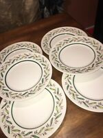 """Set of 6 Royal Doulton ALMOND WILLOW 8 5/8"""" SALAD PLATES (Made in England) EC"""