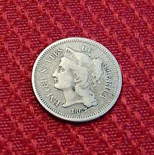 SCARCE 1867 NICKEL THREE III CENT PIECE Coin LOW MINTAGE Old Obsolete 3C Money