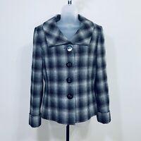 Tahari Arthur S Levin Jacket Size 10 Lined Wool Viscose Blend Check Patter Black