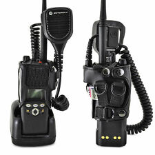 Motorola XTS2500 2 Way Radio Holder D Rings fits in Charger Black Leather Case