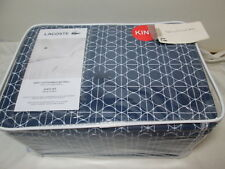 Lacoste Cotton Brushed Twill King Sheet Set TENNIS GEO ~ Blue and White NEW