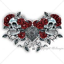 * Rockabilly Skull Gothic Tattoo Punk Totenkopf Biker Damen Girl Shirt *7261