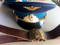 Vintage Military Soviet Military Hat And Belt Russian
