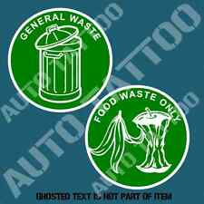 FOOD WASTE & GENERAL WASTE DECAL STICKER COMMERCIAL GARBAGE BIN OH&S SAFETY