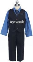 Boy's Navy Blue 4 Pc Formal PinStripe Suit Vest Royal Blue Dress Shirt Size 2-20