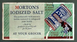 """Morton's Iodized Salt 1930 Ink Blotter made for 82 years """"at your grocer"""" plus"""