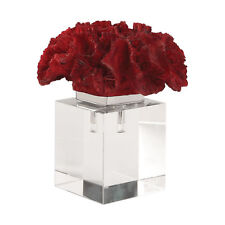 Luxe Modern Red Coral Crystal Cube Sculpture | Coastal Sea Shell Finial Statue