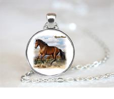 Quarter Horse PENDANT NECKLACE Chain Glass Tibet Silver Jewellery