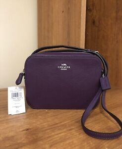 NWT Coach Mini Camera Crossbody Bag Pebble Leather Silver/Amethyst Purple