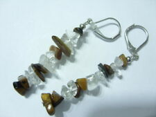 Tigerauge/Bergkristall Splitter Ohrringe Ohrhänger mit Brisuren rhodiniert