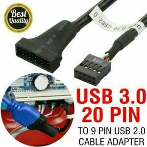 USB 3.0 Motherboard Male Header 20-pin to 9-pin Female USB 2.0 Cable Adapter UK.