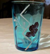 Antique EAPG Northwood Blue Tumbler with Enameled Red Rose Flower ,Near MINT!