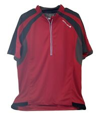 Endura Men's XL red Black Gray 1/2 zip CYCLING JERSEY Back pockets Media Access
