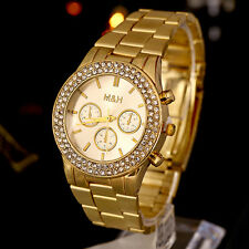 Women Men Geneva Stainless Steel Quartz Rhinestone Crystal Wrist Watch Ornate