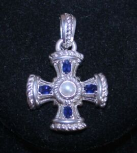 Judith Ripka Sterling Sapphire & Cultured Pearl Cross Enhancer Pendant