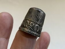 Antique Stern Bros. Sterling Thimble with Horseshoes & Clovers