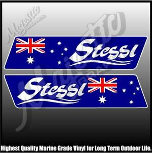 STESSL - 450mm X 100mm X 2 - LEFT & RIGHT PAIR - BOAT DECALS