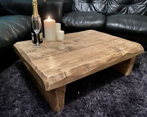 Rustic reclaimed coffee table solid wood 3 inches thick waney / live edge chunky